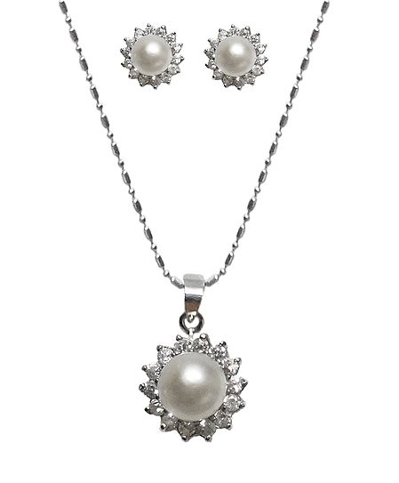 White Stone Studded Pendant with Chain and Earrings