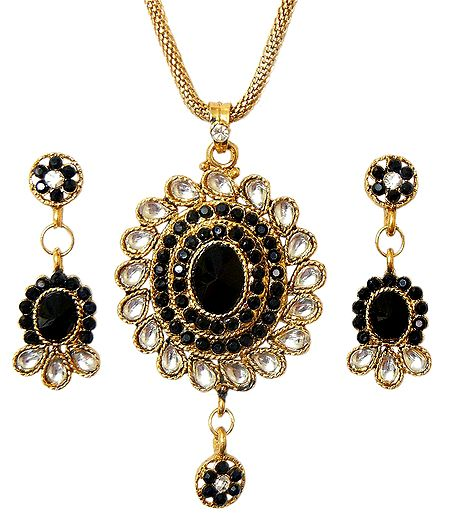 Black Stone Studded Pendant and Earrings with Chain
