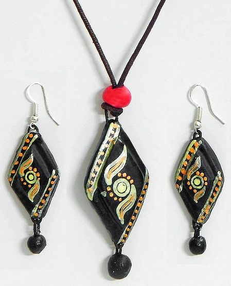 Hand Painted Design on Black Pendant and Earrings