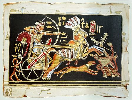 King Tutunkhamun in his Chariot (Reprint From an Egyptian Painting)