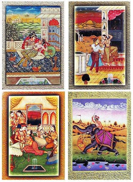 King with His Concubines and Hunter - Set of 4 Unframed Posters