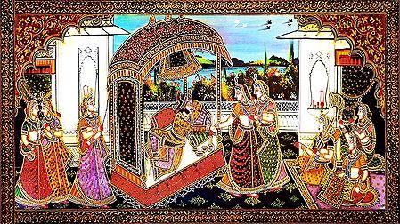 King Enjoying with his Harem