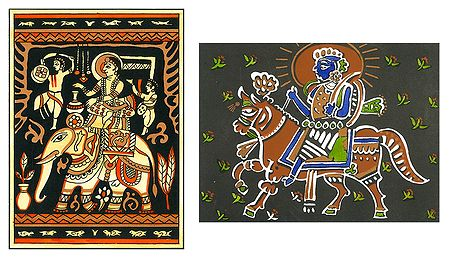 Prince on Elephant and King on Horse - Set of 2 Small Posters