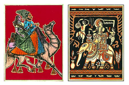 Dhola Maru and Prince on Elephant - Set of 2 Small Posters