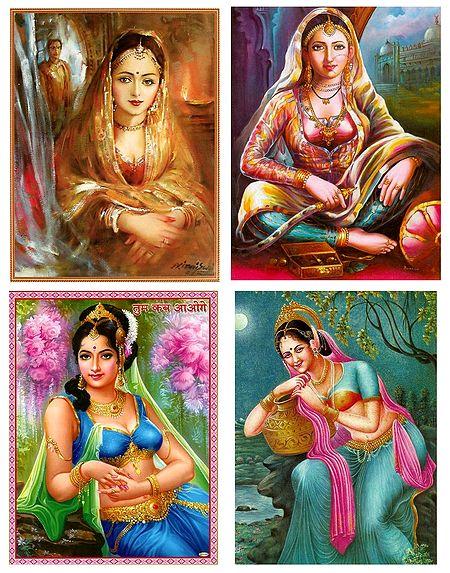 Indian Beauties - Set of 4 Posters