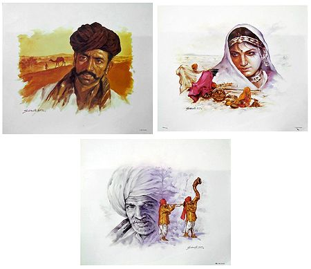 Rajasthani People - Set of 3 Posters