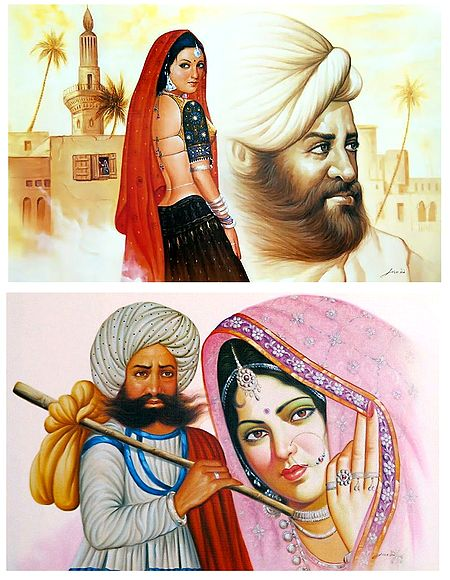 Rajasthani People - Set of 2 Unframed Posters