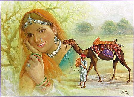 Rajasthani Man, Woman and Camel