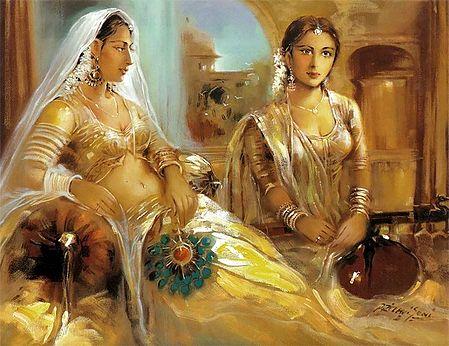 Rajput Princess and Her Maid