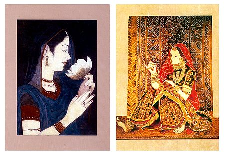 Princess and Rajasthani Woman - Set of 2 Small Posters