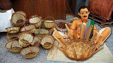 Basket Weaver Picture - Unframed Photo Print on Paper