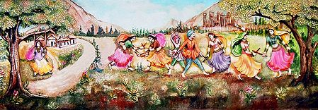 People Playing Dandiya - Unframed Photo Print on Paper