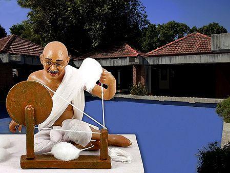Photo Print of Mahatma Gandhi Spinning Charkha