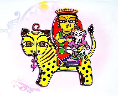 Durga with Ganesha Sitting on Lion - Photo Print of Jamini Roy Painting
