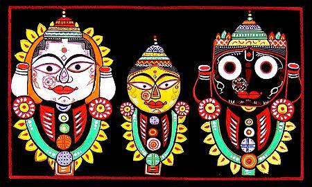 jagannath, Balaram, Subhadra - Photographic Print of Jamini Roy Painting