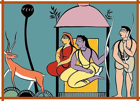Ram, Lakshman, Sita - Photo Print of Jamini Roy Painting