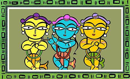 Krishna, Balaram and Sudama - Photo Print of Jamini Roy Painting