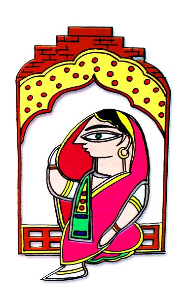 Lady Sitting on Window - Photo Print of Jamini Roy Painting