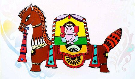 Ganesha Sitting on Horse - Photo Print of Jamini Roy Painting