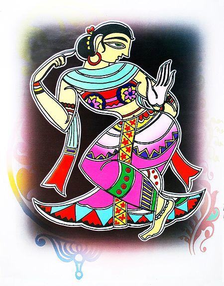 Dancing Girl - Photo Print of Jamini Roy Painting