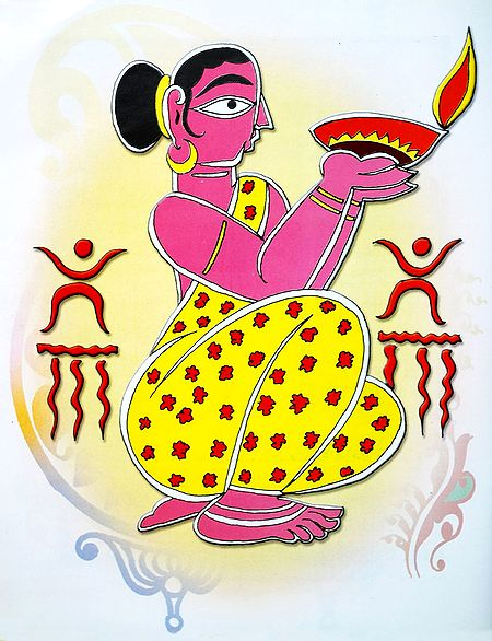 Lady with Diya - Photo Print of Jamini Roy Painting