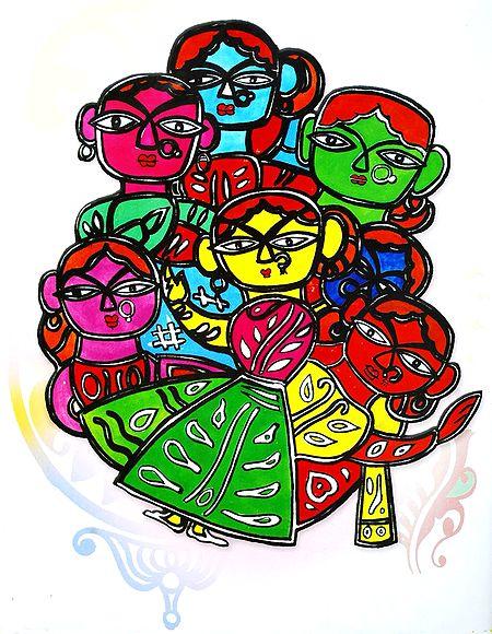 Children - Photo Print of Jamini Roy Painting