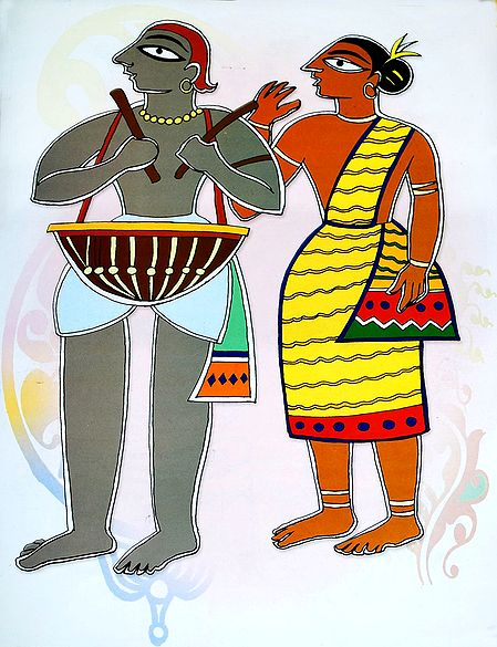 Santhal Couple - Photo Print of Jamini Roy Painting