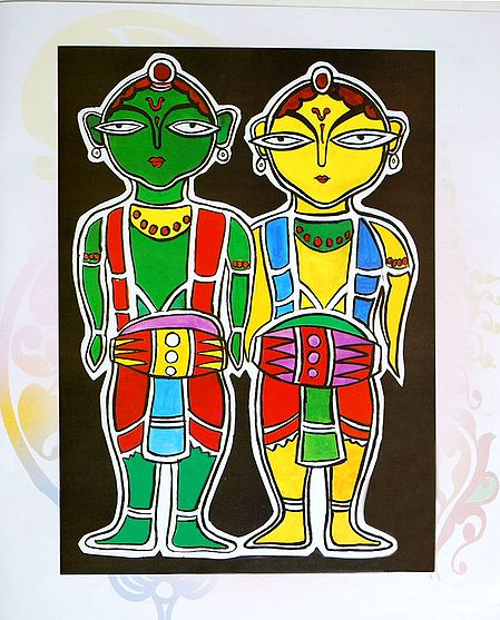 Vaishnavas - Devotees of Krishna - Photo Print of Jamini Roy Painting