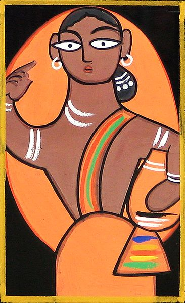 Rural Woman - Photo Print of Jamini Roy Painting