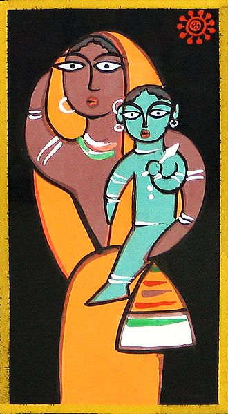 Yashoda and Krishna - Photo Print of Jamini Roy Painting