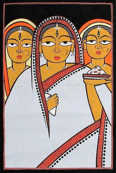Three Women - Photo Print of Jamini Roy Painting