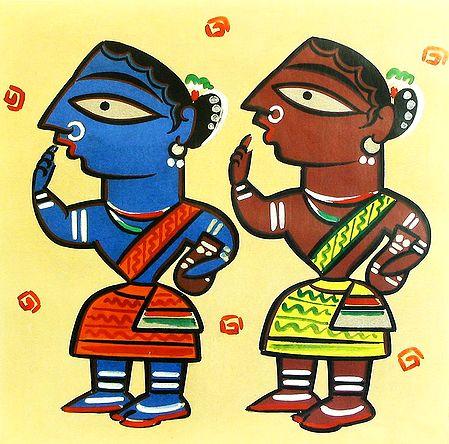 Rural Women - Photo Print of Jamini Roy Painting