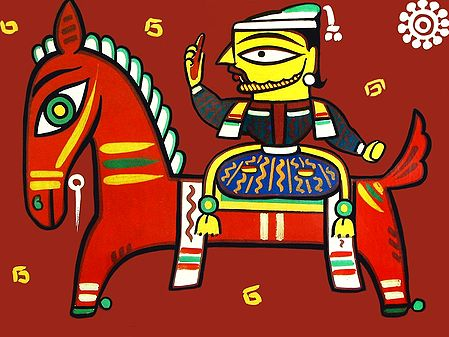 King on Horse - Photo Print of Jamini Roy Painting