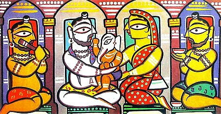 Lord Shiva, Parvati and Ganesha - Photo Print of Jamini Roy Painting