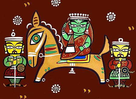 Queen on Horse - Photo Print of Jamini Roy Painting