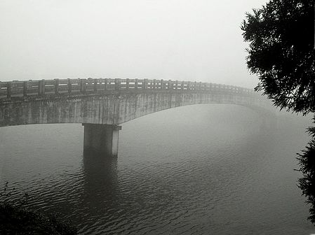 Bridge on Mirik Lake on a Misty Morning - North Bengal, India