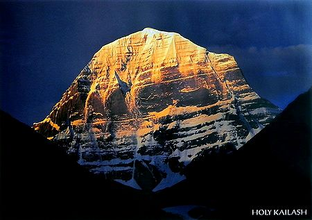 Mount Kailash (6638 mts.) from Mansarovar, Tibet - Photographed by Ashok Dilwali