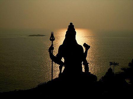 Sun Set Behind Lord Shiva in Murudeshwar, Karnataka