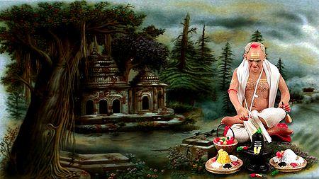 Photo Print of Hindu Priest Performing Puja