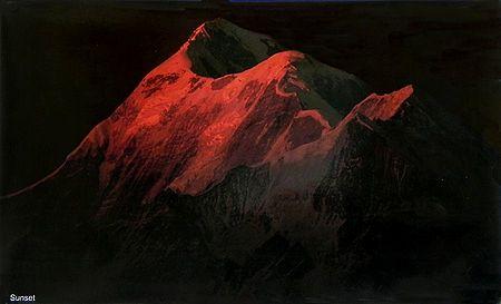 Sun Rays Falls on Trishul Peak (7120 mts.) During Sunset from Kausani, Uttarakhand, India - Photographed by Ashok Dilwali