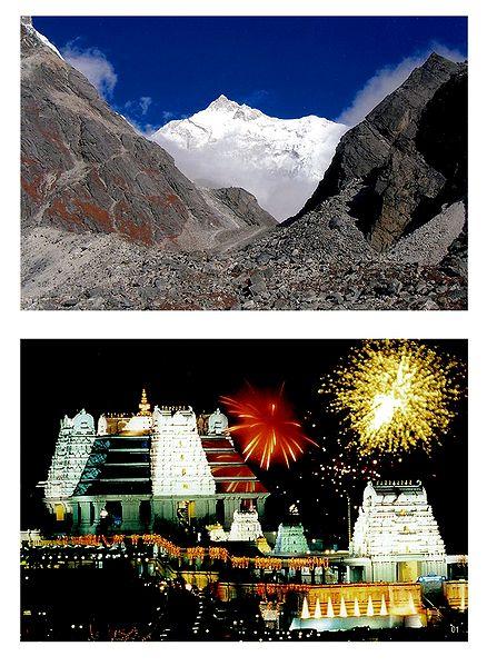Majestic Himalayas and Isckon Temple, Bangaluru - Set of 2 Photo Prints