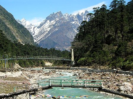 Foot Bridge to Yumthang Hotspring - North Sikkim, India