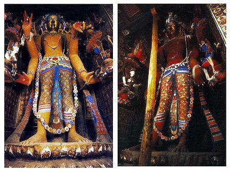 Manjushri and Maitreya Buddha (Reprint of Medieval Painting) in Alchi Monastery, Ladakh- Set of 2 Postcards