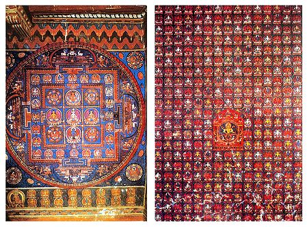 Ratnavajarini and 364 Manifestation of Bodhisattva Manjushree (Reprints of Medieaval Painting) in Alchi Monastery, Ladakh- Set of 2 Postcards