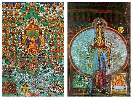 Avalokiteshvara and Buddha (Reprint of Medieval Paintings), Ladakh - Set of 2 Postcards