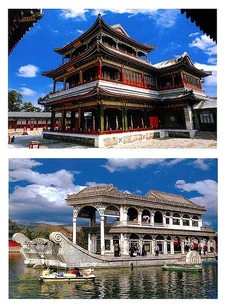 Grand Theatre and the Marble Boat, China - Set of 2 Postcards
