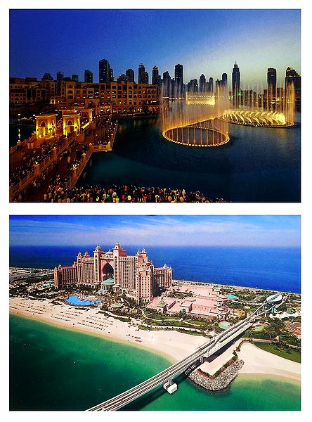 Downtown, Fountain and Atlantis the Palm, Dubai - Set of 2 Postcards