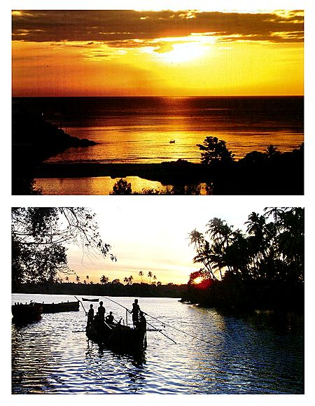 Colvale River and Mobor Beach, Goa - Set of 2 Postcards