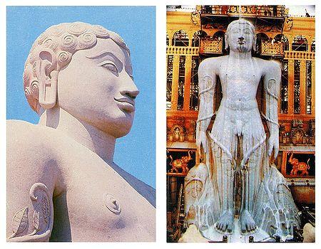 Lord Gomateshwara and Maha Mastabhishekha of Sri Gomateshwara - Set of 2 Postcards