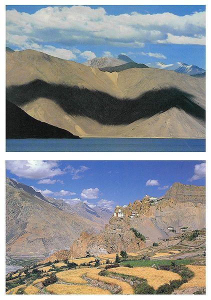 Pangong Lake, Ladakh and Dankar Monastery, Spiti H.P - Set of 2 Postcards